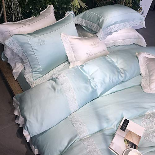 XMDNYE Wasserlösliches Spitzen-Spitzenbett 80 100% Tencel Vierteilige Rutschige Seide Rutschig, Peppermint Green Tencel, 1.8M (6 Feet) Bett -