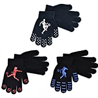 3 Pairs Boys Winter Gripper Gloves Football Design
