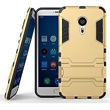 DWay Meizu MX5 Pro Funda Hybrid Armor Design con Stand-up Feature 2 In 1 Combo Dual Layer Detachable Protective Shell Phone Hard Espalda Carcasa Funda para Meizu MX5 Pro 5.7inches (Gold)