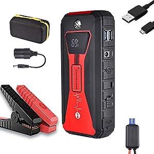 careslong Arrancador de Coches, 24000mAh 2200A Arrancador de Baterias de Coche (para Todo vehículo de Gasolina o 7.0L de Diesel) de IP68 Impermeable, Carga Rápida QC3.0 Type C (Red)