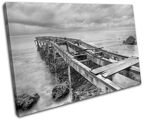 Bold Bloc Design - Abandoned Pier Sunset Seascape - 135x90cm Boîte de tirage d'Art toile encadrée photo Wall Hanging - à la main dans le UK - encadré et prêt à accrocher - Canvas Art Print