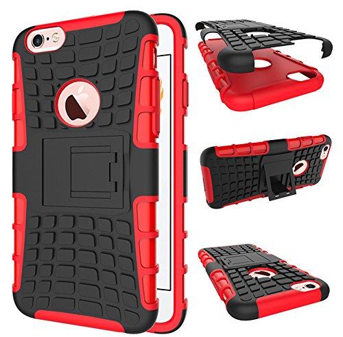 Apple Iphone 6 Plus / 6S Plus Hülle, Nnopbeclik Hybrid 2in1 TPU+PC Schutzhülle Cover Case Silikon Rüstung Armor Dual Layer Muster Handytasche Backcover [Anti-Slip] [Anti-Shock] 360-Grad-Drehung stände Noir