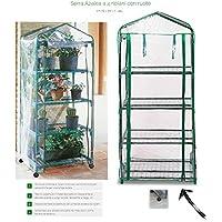 Verdemax - Serra Da Terrazzo A 4 Ripiani Modello Siena Garden Con Ruote