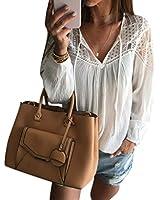 Sannysis Frauen Lange Hülsen-Chiffon- Spitze-Häkelarbeit-Bluse T-Shirt Tops