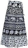 #9: Havya Fashion Women's Cotton jaipuri print wrap around skirt (Black with White, 32)