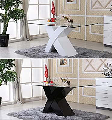 MILANO X High Gloss WHITE/BLACK Glass Wood Dining Table TABLE ONLY