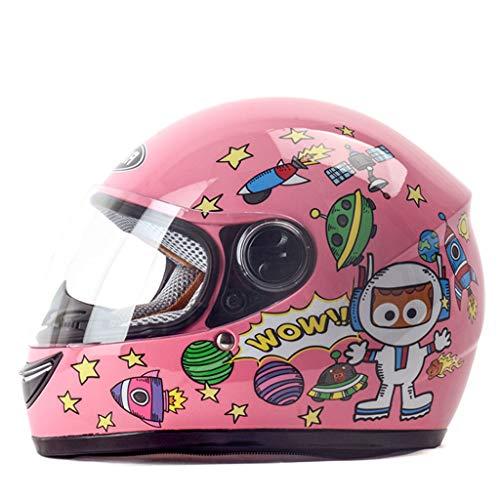 ZXW casco- Casco moto elettrica per bambini e ragazze casco invernale caldo per bambini (colore : Pink-28x25cm)