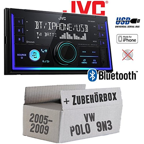 Autoradio Radio JVC KW-X830BT - Bluetooth MP3 USB - Einbauzubehör - Einbauset für VW Polo 9N3 - JUST SOUND best choice for caraudio