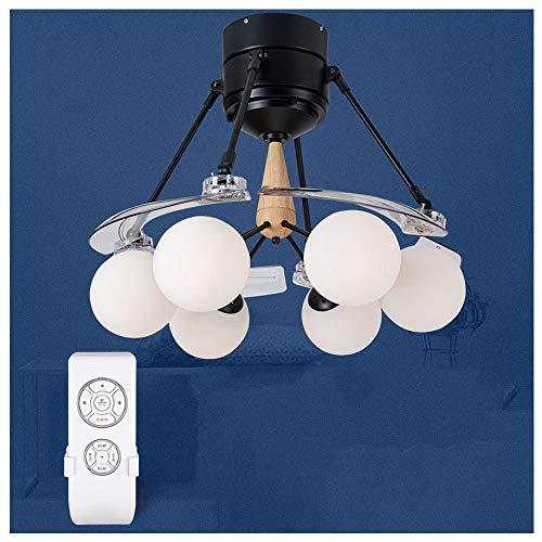 CLCYL Waldwind Unsichtbare Deckenventilator Licht Wohnzimmer Nordic Magic Bean Fan Licht Lampe Home Restaurant Mit Lüfter Kronleuchter,White (Motor Lasko-fan)