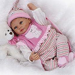 CUTDOLL Reborn Baby Doll Poupée Bébé Silicone Rose Vêtements Ours Ensemble Fille Bouche magnétique Yeux Ouvert 22 Pouce 55 cm Nouveau-Né Bébé Enfants Cadeaux Jouet des pour l'âge 3+