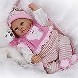 CUTDOLL Reborn Baby Doll Wiedergeborene Babypuppe Silikon Mädchen Rosa Outfit Magnetischer Mund Kinder Spielzeug Geschenk Kit 22 Zoll 55 cm