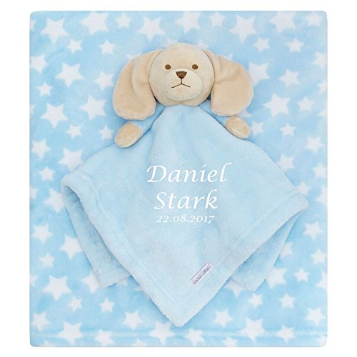 Desertcart personalised baby comfort blanket buy personalised personalised embroidered baby comforter blue puppy blanket gift set baby boy negle Images