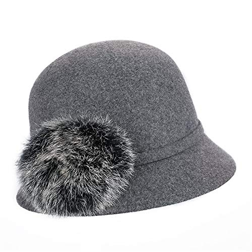 Bowler-Hüte für Frauen warme Wollfilz breiter Krempe Band Hairball Winter Floppy Hats Hut (Farbe : Grau)