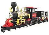 MOTA Klassische Spielzeugeisenbahn mit echtem Rauch - authentische Lichter und Geräusche - EIN komplettes Set mit Lokomotivenmotor, Frachtwagen, Gleisen und Weihnachtsstimmung.