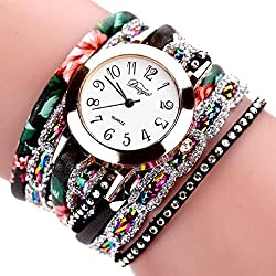 HARRYSTORE Women Flower Watches Popular Quartz Watch Luxury Bracelet Flower Gemstone Wristwatch with Long Leather Strip