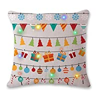V-Hao 2 Pack/Random Color Cotton Throw Pillow Square Shape Hold Cushion with Light Christmas Decoration