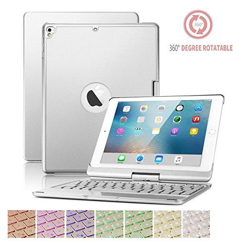 iPad 9.7 Tastatur Fall,SUAVER 360° Rotierende Wireless Bluetooth Tastatur Fall Abdeckung mit 7 Farben Hintergrundbeleuchtung und Atmung Licht, Auto Sleep/Wake, Wiederaufladbare für iPad Pro9.7, Air1/2,2017newiPad 9.7 (Silber)
