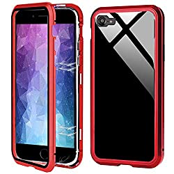 """Für iPhone 7 Hülle Magnet,iPhone 8 Hülle 360 Grad Magnetisch, Dünn Metallrahmen Magnetische Adsorption Handyhülle Gehärtetes Glas Vorne und Hinten Komplett Schutzhülle für iPhone 7/8 4.7""""-Rot"""