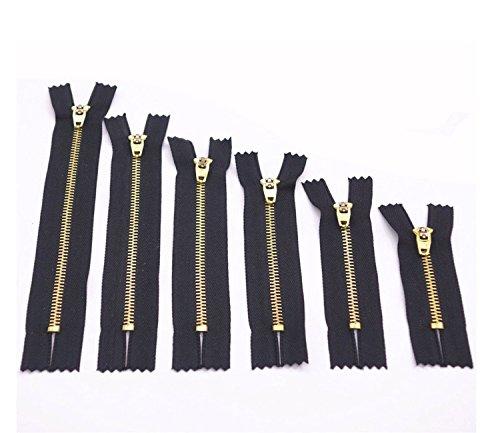 LEOFANS Jeans Reißverschluss Metall in schwarz zum Einnähen für Hosen Röcke Sewing Tailor Craft-Kleid-Beutel-Tuch Metallzähne brüniert,10 Stück (11cm) - Brüniert Metall