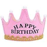 hibote fiesta de cumpleaños de la corona luminosa del cumpleaños del bebé de la Navidad Niños Nuevos sombreros de feliz cumpleaños rosa