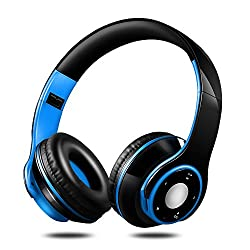Yineme Eb8412 Bluetooth Headphones Over Ear Hi-fi Stereo Wireless Headset With Mic & Deep Bass,soft Memory-protein Earmuffs Earmuffs, Foldable, For Pccell Phonestv (Blue)