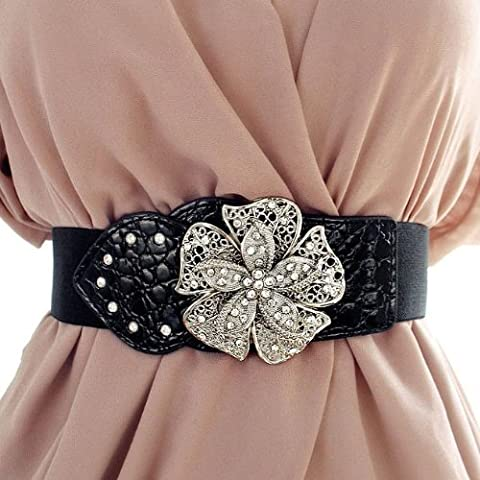 Lady Waist Wide Elastic Gorgeous Fashion Belt Features Diamond Flower Detail