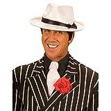 Weißer Gangster Hut Mafia Gangsterhut 20er Jahre Mafiahut Al Capone Bogart Kopfbedeckung Ganovenhut Fasching Blues Brothers Ganove Verkleidung Charleston Mottoparty Accessoire Karneval Kostüm Zubehör