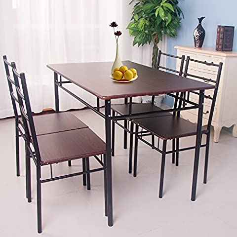 Life Carver 5 Pieces Dining Table and 4 Chairs Set Modern Home Kitchen Furniture Dinning Room Sets(Walnut&Black)