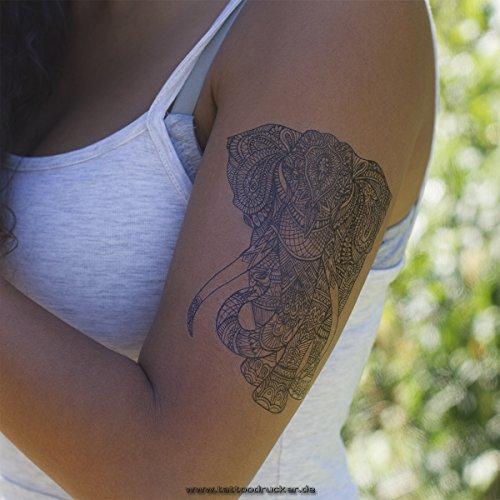 x Éléphant Mandala Tatouage - Symbole Bouddhiste - Afrique Design - Tatouage de Peau (1 x Éléphant Mandala Tatouage)