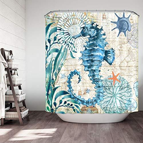 FeiliandaJJ Duschvorhang 180x180cm Blau, Badevorhänge 3D Seepferdchen Muster Wasserdicht Anti-Schimmel Anti-Bakteriell Badewanne Vorhang Shower Curtains für Badezimmer Hotel (Himmelblau) - Duschvorhang-sets Meer