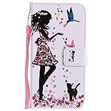 ISAKEN Huawei P8 Lite 2017 Hülle, Folio PU Leder Flip Cover Geldbörse Ledertasche Handyhülle Tasche Case Schutzhülle mit Handschlaufe Standfunktion für Huawei P8 Lite 2017 5.2 Zoll - Mädchen Katze