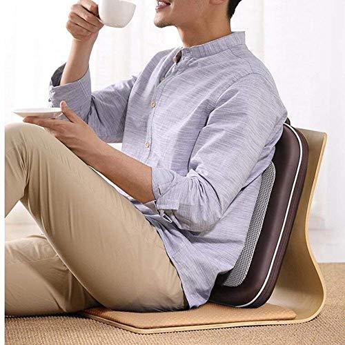 Stuhl Heizung Massage Kissen (CWJ Multifunktionsmassagegerät Vibration Heizung Elektrische Taille Hals Schulter Multifunktionale Kissen Stuhl Massage Ganzkörper für Alte Menschen Dunkelbraun)