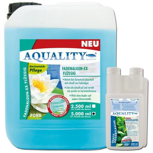 AQUALITY Fadenalgen-EX Flüssig Gartenteich 5 Liter (GRATIS Lieferung in DE - Flüssiger Fadenalgenvernichter, Algenmittel, Algenentferner. Löst Sich schnell im Teich auf)