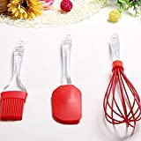 #8: Crafts Stock Red Silicon Non-Stick Plastic Handal Spatula, Brush & Whisker Pack of 3