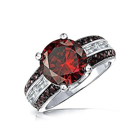 Bling Jewelry Deco Style simulé bague Cocktail Baguette CZ rubis plaqué argent