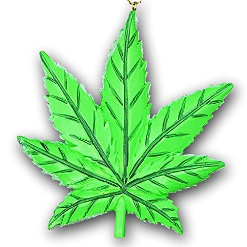 KSA Marihuana-Blatt-Christbaumschmuck - Cannabis Topf Blatt Grün Unkraut-Dekoration - Rückspiegel Hänge-Dekoration - wendbares Design von Kristall-Glitzer und massiver Matter Oberfläche