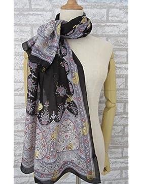 Rosca de impresión en negro de mujer 100% seda bufanda larga