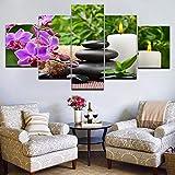 zxfcccky Lienzo Cuadros Modular Salón Decoración Marco 5 Unidades Piedras Orquídeas de Bambú...