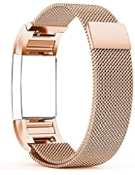 Fitbit Charge 2 Correa - Milanese Bucle Acero Inoxidable Watch Band de Reloj Strap Bracelete,Hanlesi Pulsera de Acero Inoxidable Fitness Wristband para Fitbit Charge 2 (Rose Gold, Small)