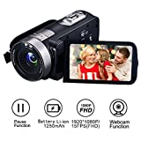 Videokamera Camcorder Full HD 1080p 24,0 MP Kamera Recorder Kamera 16X digitaler Zoom 3 Zoll LCD...