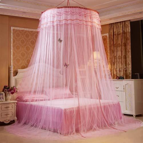 Per - Cortinas con dosel, decoradas con mariposas, 3 capas, para cama doble, Rosa, talla única