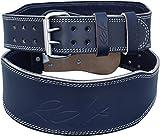 RDX Herren 4 Zoll Rindsleder Fitness Gewichthebergürtel Gürtel für Gewichtheber, Blau, XL