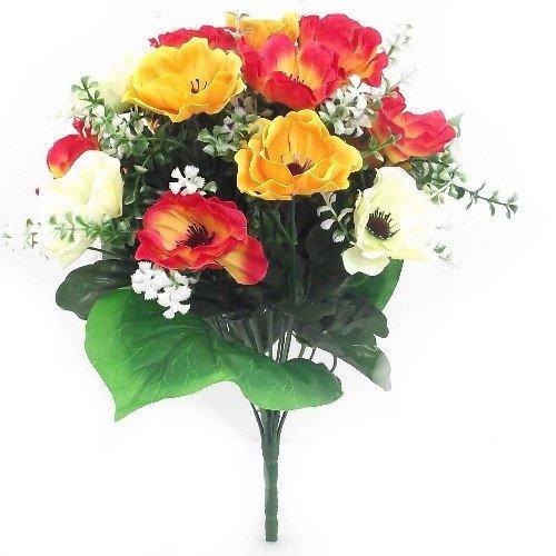 40 cm superbe soie artificielle crème/jaune & Orange Anémone Bush avec fleurs 17 heads- Maison Mariage Anniversaire Tombe