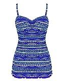 Hilor Damen Einteiliger Badeanzug Tummy Control Bademode Retro Badekleid mit Slip Blau 40
