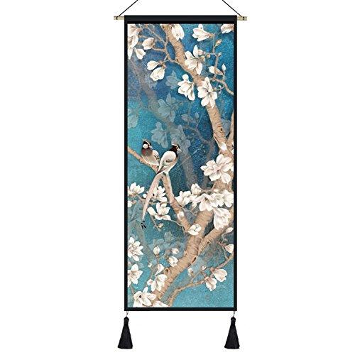 Chinesische Handarbeit Gobelin, Blume und Vogel Malerei, Orientalischer Wandbehang, Kunst Asiatische Dekoration Wandteppich Artwork Bild Geschenke-A 45x120cm(18x47inch)