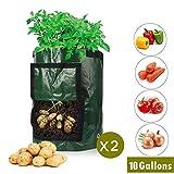 Keyaway Sacchetti per Coltivazione di Patate da 10 galloni, fioriere in PE per Giardiniere Grow Bags con Manici e Alette Heavy Duty Adatto per Patate, Carote, pomodori, Cipolla e così Via (2 Pezzi)