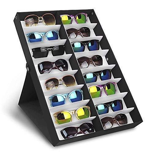 Amzdeal Brillenbox zur Aufbewahrung 16 Brillens Sunglass 49 x 33x 6 cm Zusammenklappbar und multifunktional Brillendisplay für Brillen, Schmuck, Uhren Usw