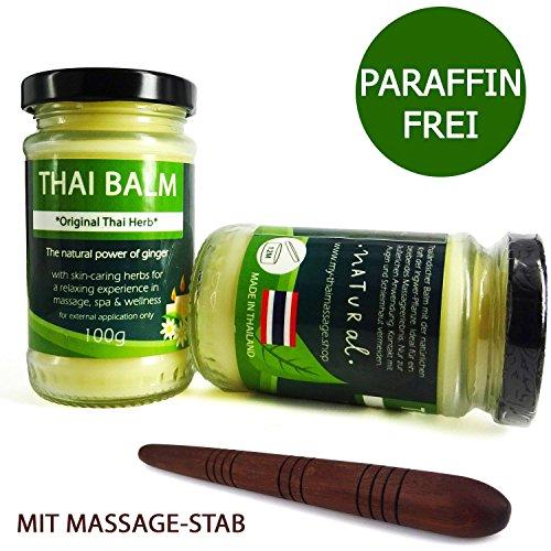 100g MyThaiMassage Thai Baume d'herbe * Thai Herb Originale * pour massage - Le pouvoir concentrée des herbes thaïlandaises comme produit cosmétique - Fabriqué en Thailand - Sans paraffines