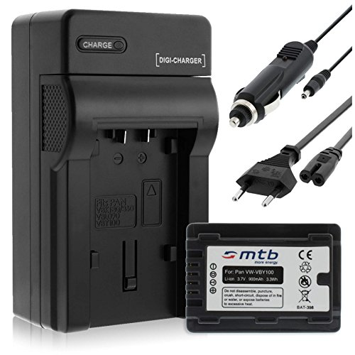 Batteria + Caricabatteria (Auto/Corrente) per Panasonic VW-VBY100 / HC-V10, V110, V130, V160