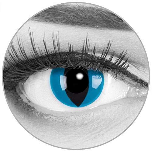 Funnylens Farbige blaue Kontaktlinsen Katzenaugen Mystic Cat - weich ohne Stärke 2er Pack + gratis Behälter - 12 Monatslinsen - perfekt zu Halloween Karneval Fasching oder Fasnacht